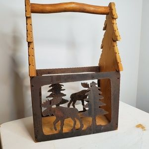 Metal and Wood Moose and Tree Basket